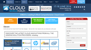 Personalised URLs for Informa: Cloud World Forum